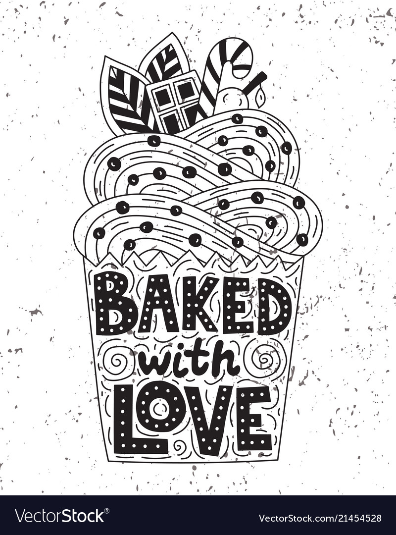 Backed with love lettering inside of a cupcake.