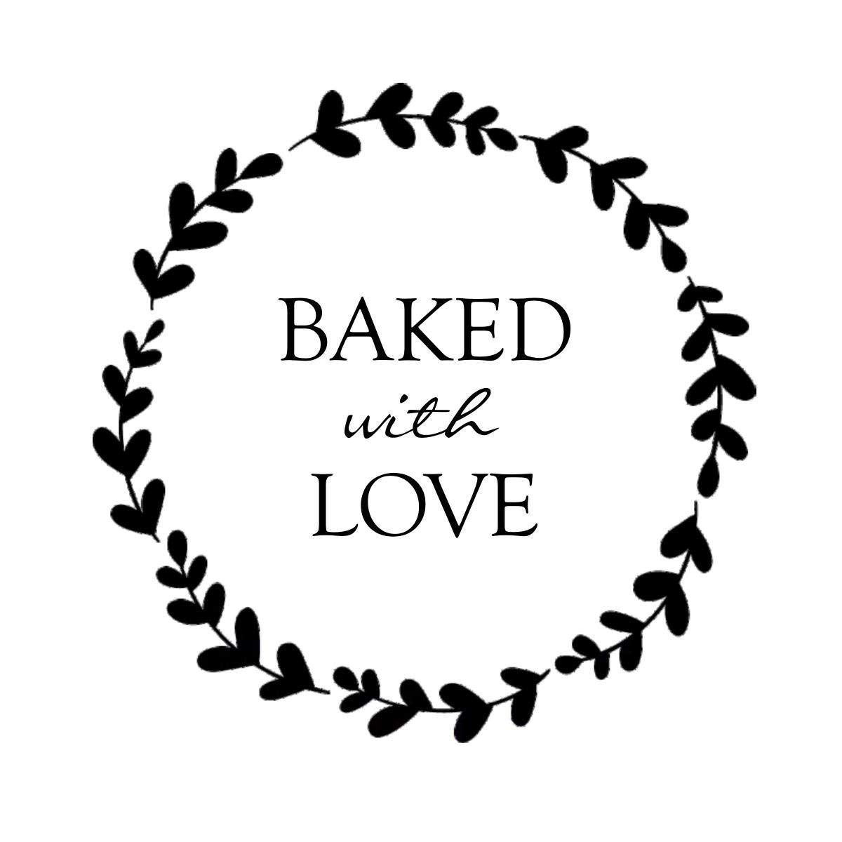 Hybsk Rustic Baked with Love Stickers with Wreath Around 1.5\