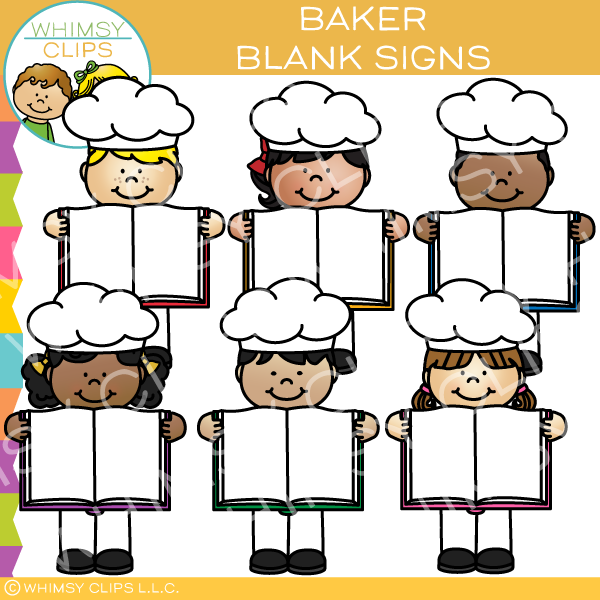 Bakers with Blank Signs Clip Art.