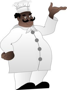 Clip art illustration of a fat African American baker or cook with a.