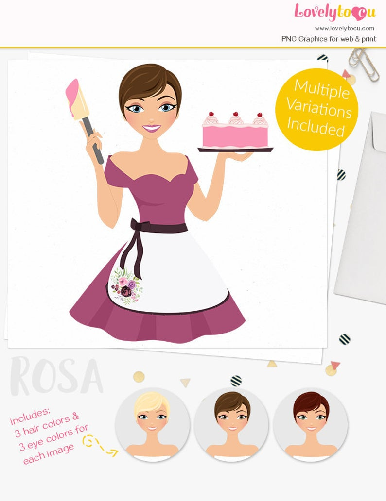 Cake baker girl clipart, woman party character, celebration, blonde,  brunette, auburn (Rosa S079).