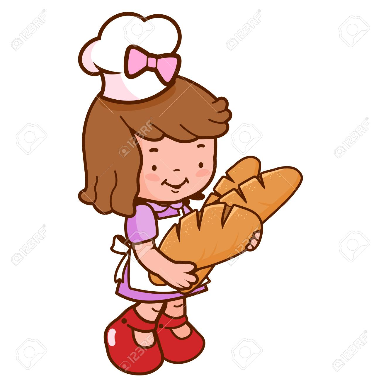 Young baker girl holding loaves of bread.