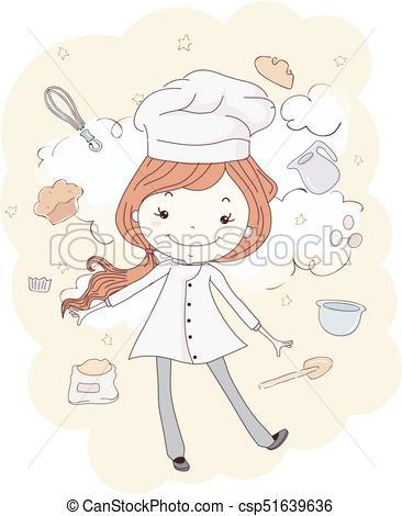 Kid Girl Baker Baking Cloud Illustration.