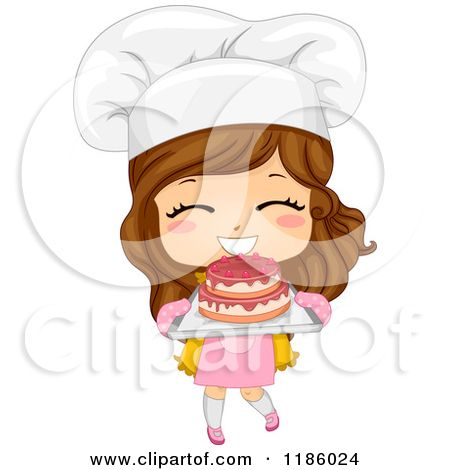 Cartoon of a Cute Brunette Caucasian Baker Girl Holding Fresh Cake.