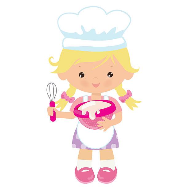 Blond Baker Girl Illustrations, Royalty.
