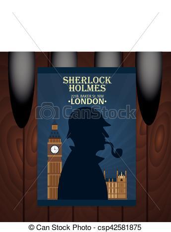 Vectors Illustration of Sherlock Holmes poster. Baker street 221B.