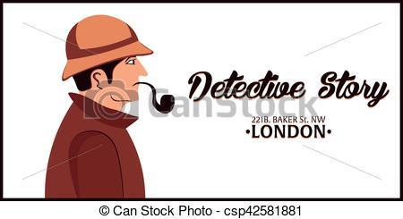 Vector of Sherlock Holmes. Detective illustration. Illustration.