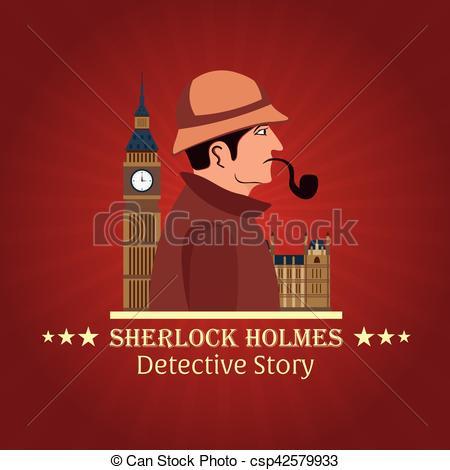 Vectors of Sherlock Holmes poster. Detective illustration.
