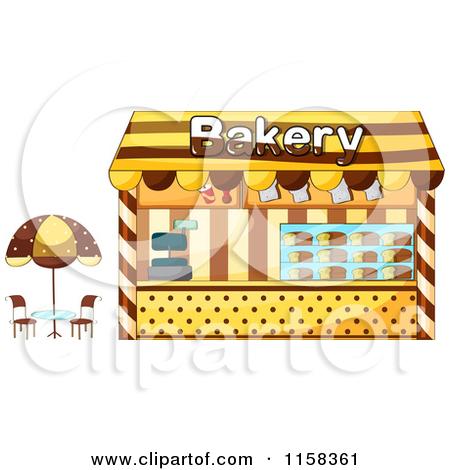 Clipart of a Bakery Building Facade.