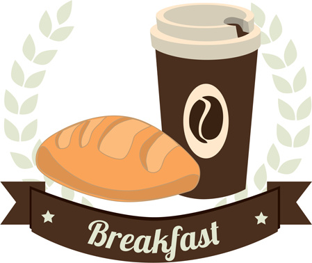 Bakery with coffee breakfast background art Free vector in.