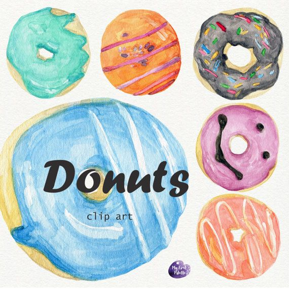 Watercolor Donuts clipart.