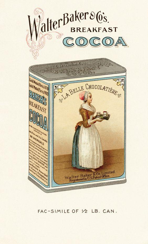 la belle chocolatiere, vintage breakfast cocoa tin, walter baker.