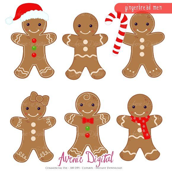 Gingerbread men Clipart and Vectors by Avenie Digital on.