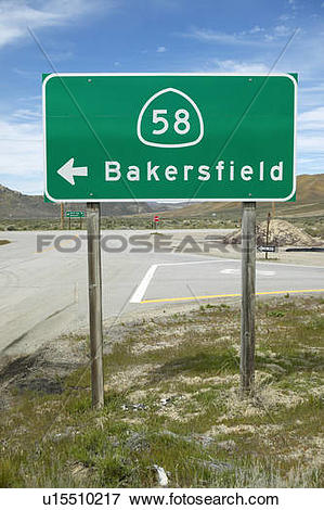 Picture of A road sign near Bakersfield California u15510217.