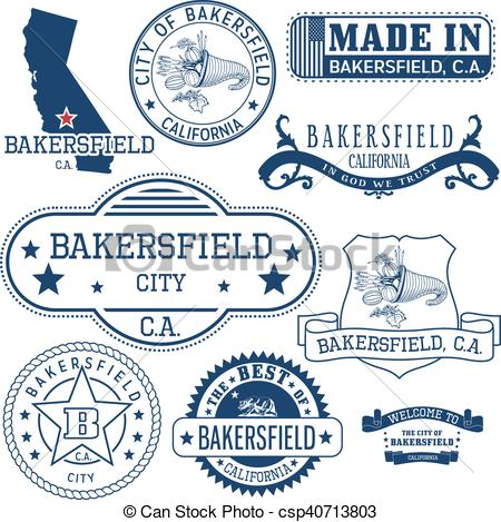 Vector Clipart of generic stamps and signs of Bakersfield city, CA.