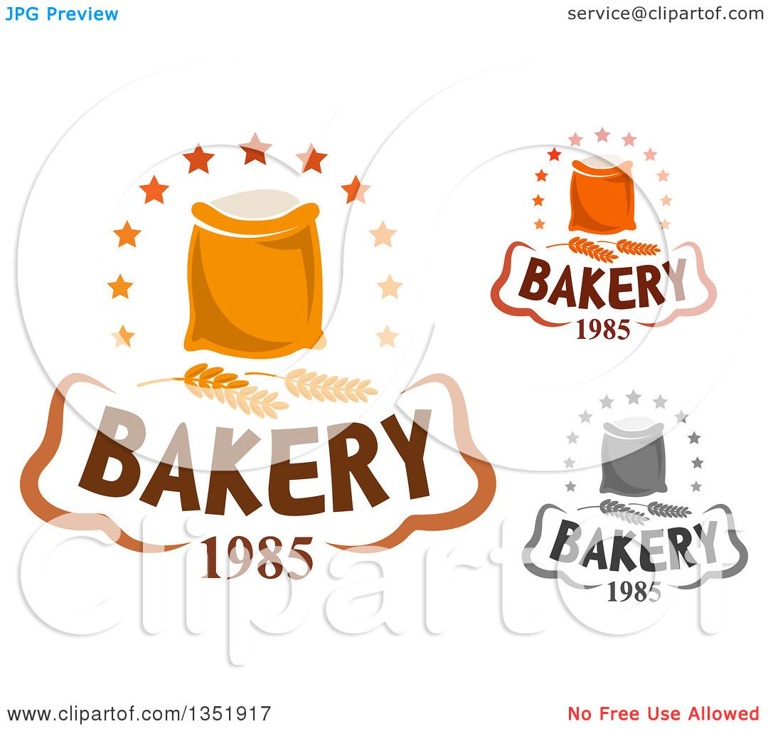 Clipart of Bakery Text Designs of Flour Bags and Wheat.