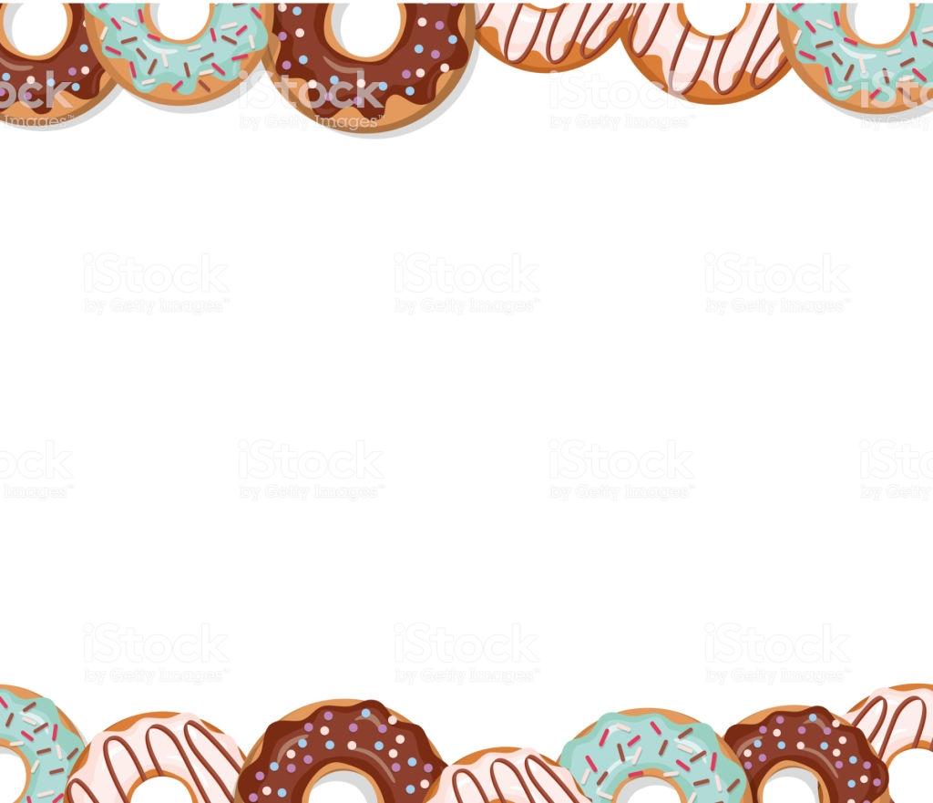Sweet Bakery Design Template Cartoon Donut Borders Stock.
