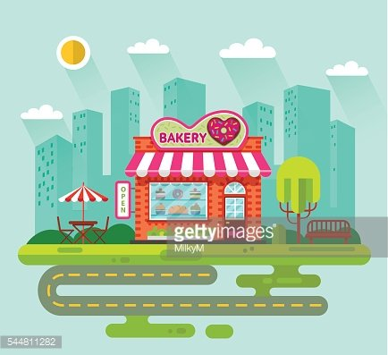 City landscape with bakery shop building Clipart Image.
