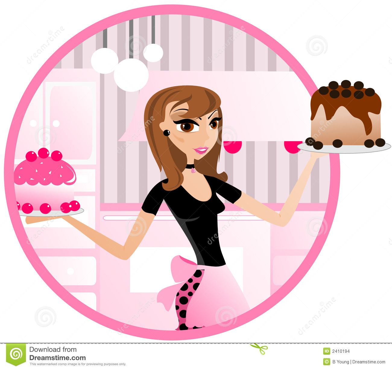 Female Pastry Chef Clipart.