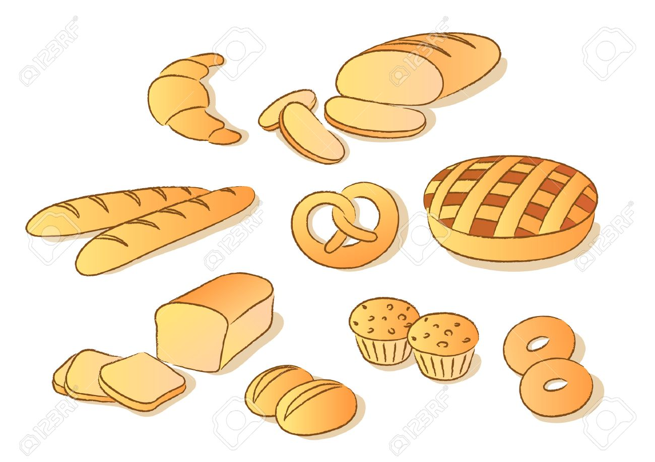 Bakery clip art set. Sketch style.