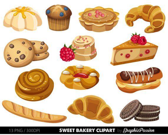 Bakery clipart Sweet Treat Bakery clip art Breakfast clipart Dessert.