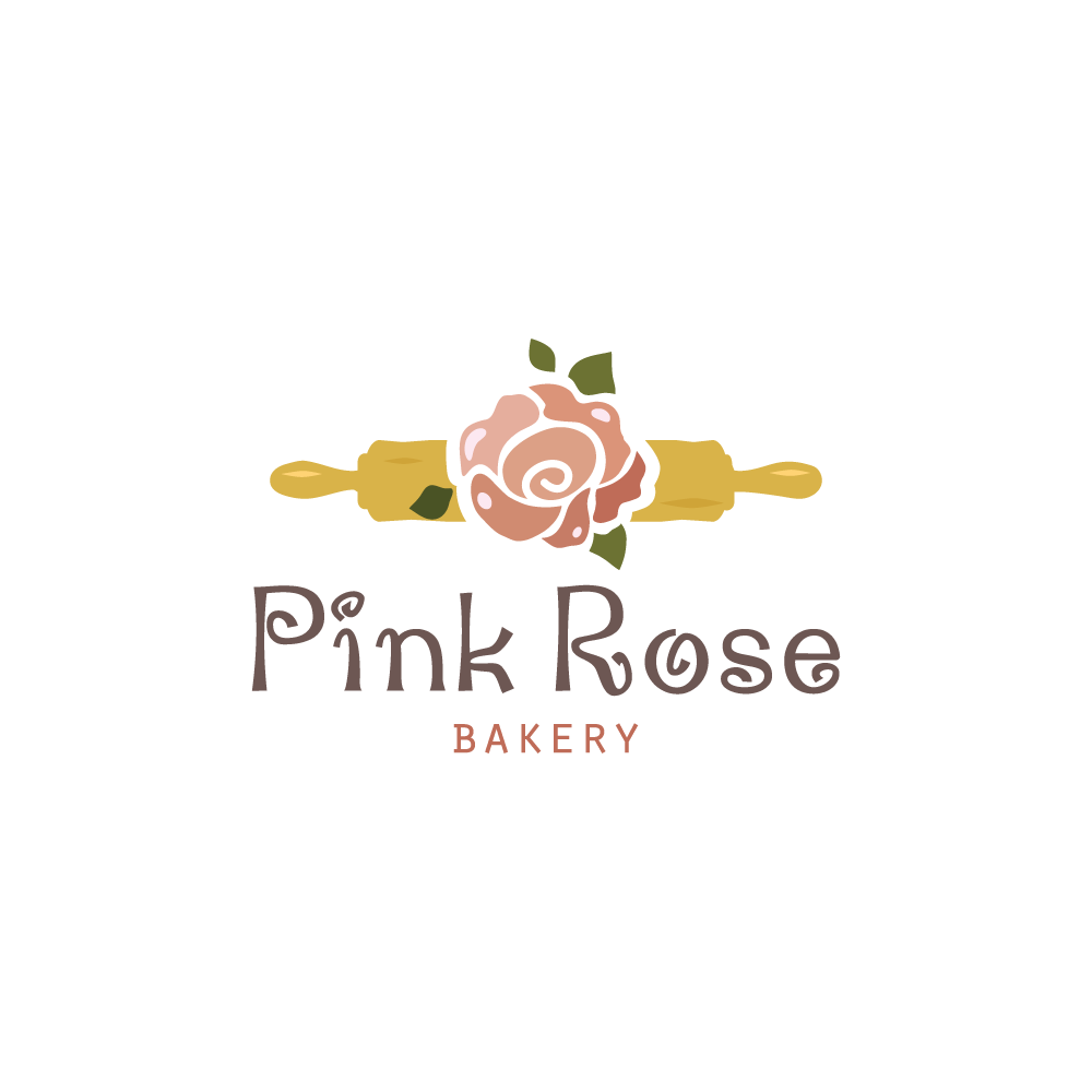 Pink Rose Bakery Logo Design.