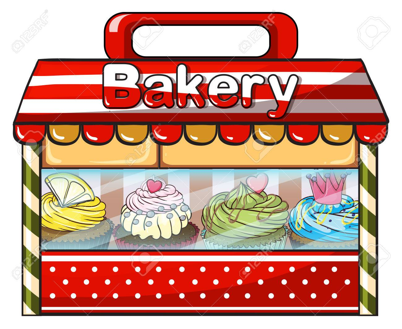 Illustration of a bakery shop on a white background.