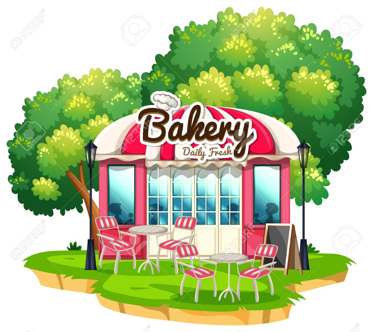 Bakery shop with dining tables illustration.