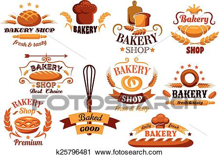 Bakery and bread symbols or banners Clipart.