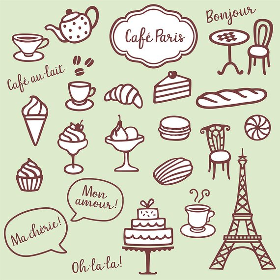 Collection with cute coffee clipart, bakery and Paris.