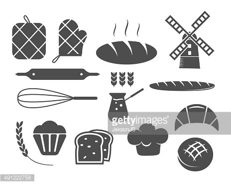 Set of bakery silhouette icons and design elements, symbols.
