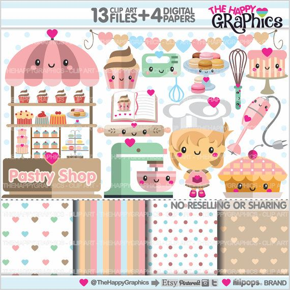 Bakery Clipart, Pastry Clipart, COMMERCIAL USE, Bakery.