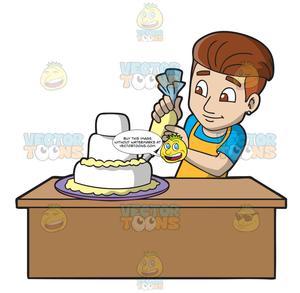 A Man Decorating A Wedding Cake.