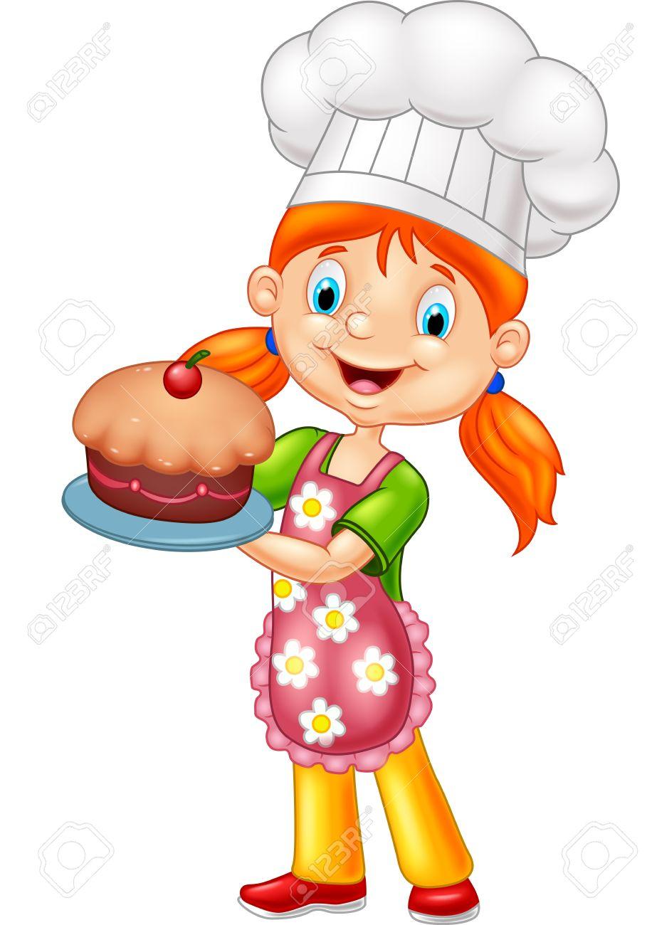 Girl Baking Cake Clipart.