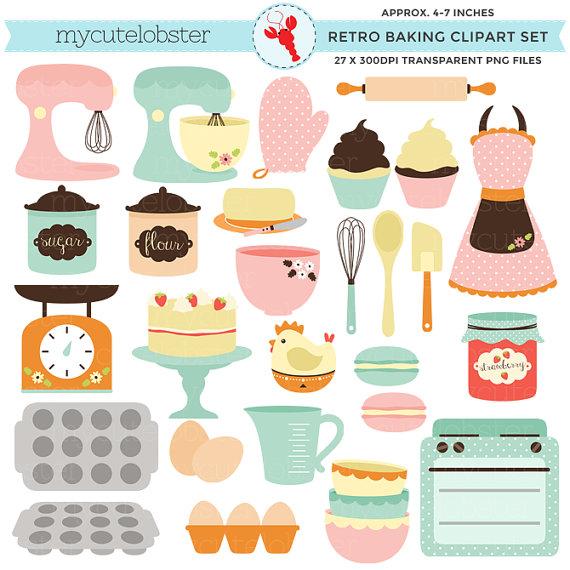 Retro Baking Clipart Set.