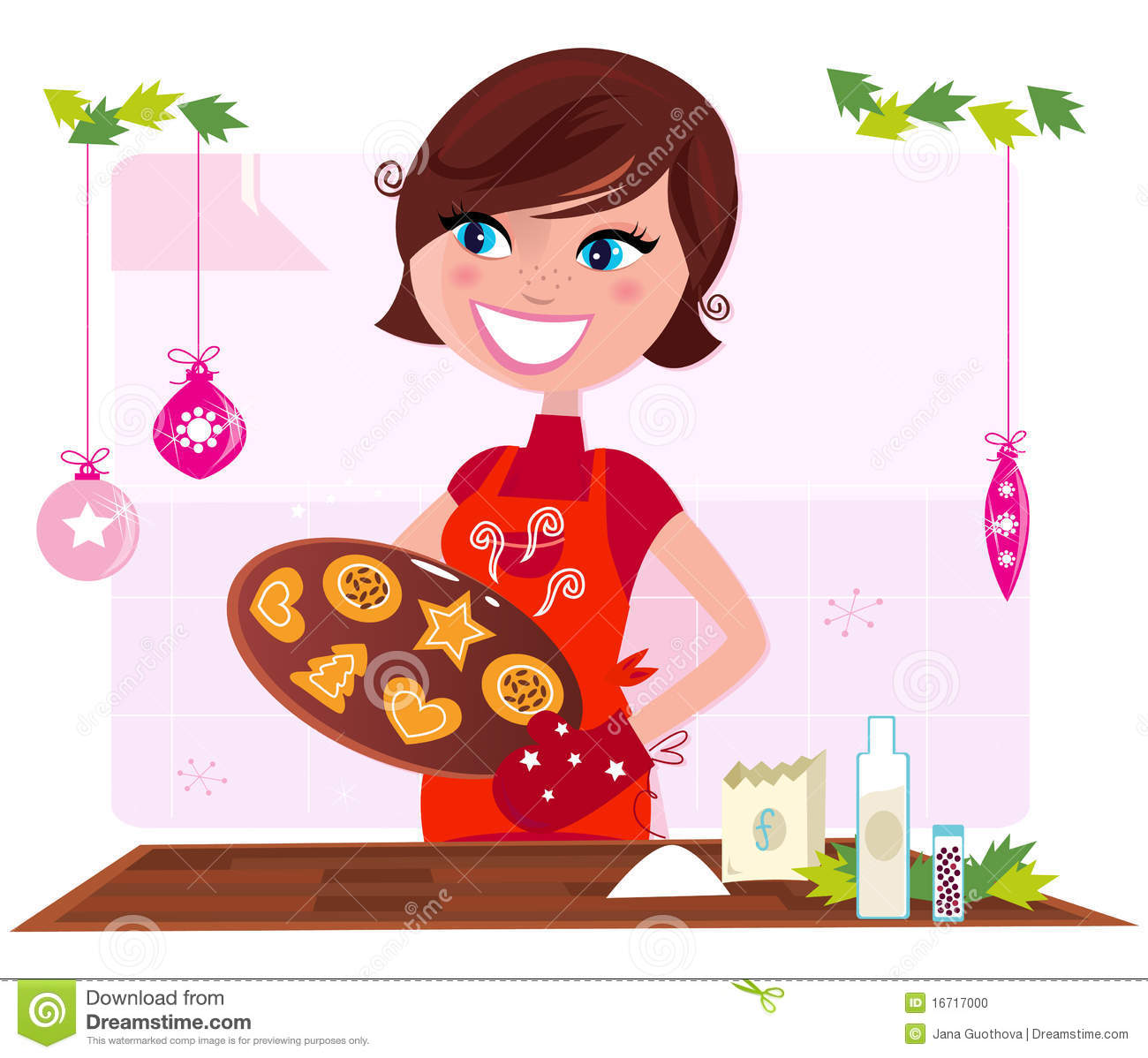 Baking Christmas Cookies Clipart.