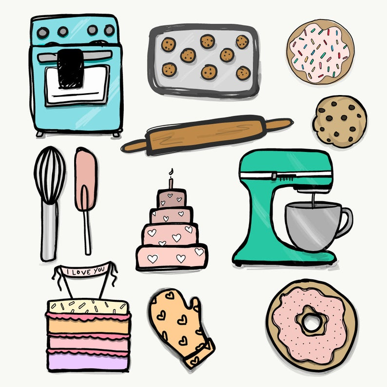 baking clipart. 12 PNG files. Transparent background. 300 dpi. Instant  download. Buy 2 Get One 1/2 Price..