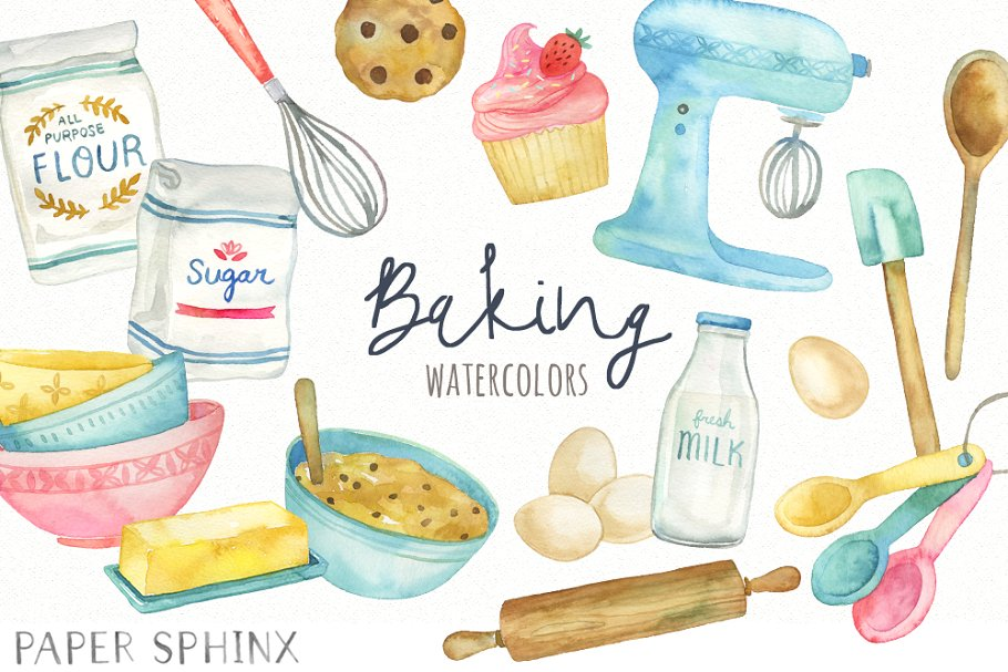 Watercolor Baking Clipart.