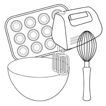 Baking Clip Art Digital Clipart Color and Black and White.