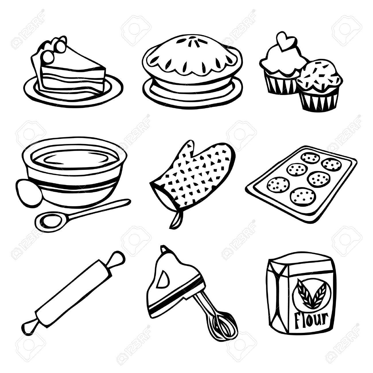 A black and white illustration baking related icons.
