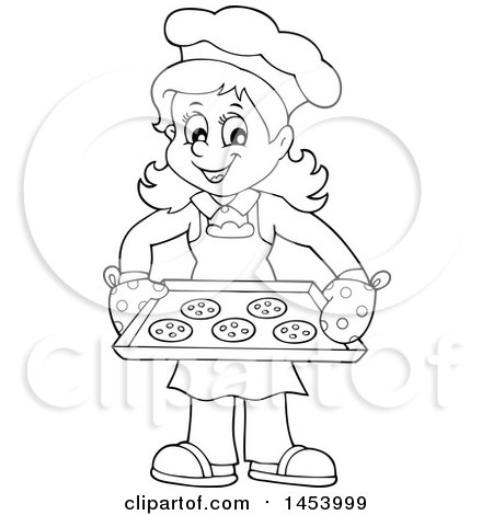 Clipart of a Black and White Lineart Happy Woman Baking Chocolate.