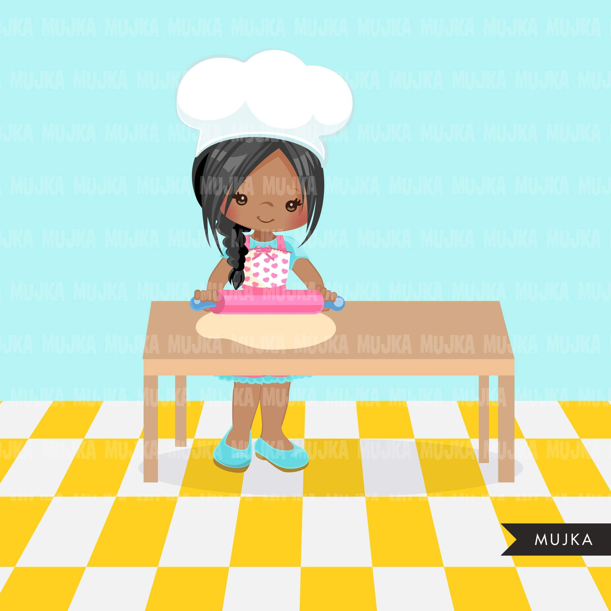 Baking Clipart, cute pastry chef with rolling pin , little girl graphics.