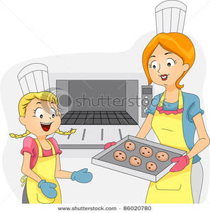 Mom Baking Cookies Clipart.