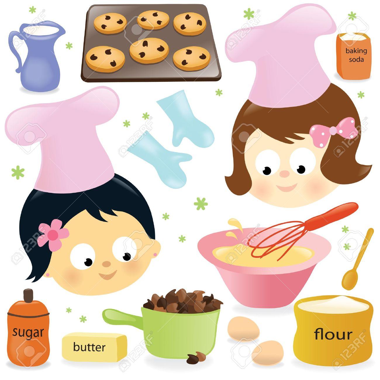 Girl Baking Cookies Clipart.