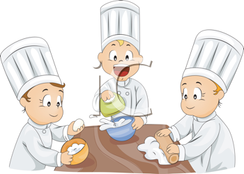 Royalty Free Clipart Image of Three Kids Baking.