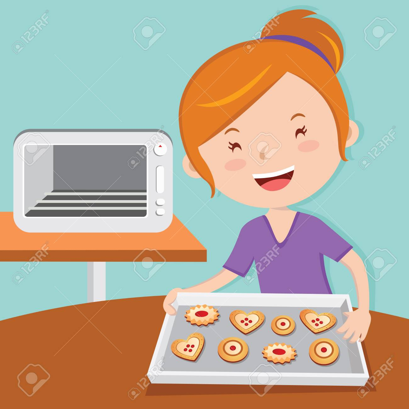 Mother baking tarts. Cheerful young woman baking cookies..