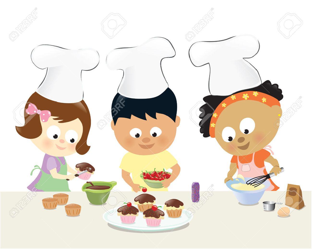 Kids baking cupcakes.