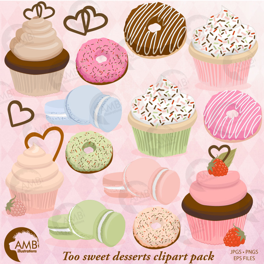 Cupcake clipart, Donut Clipart, Bake Sale Clipart, Macaroon Clipart, Cookie  clipart, commercial Use, AMB.