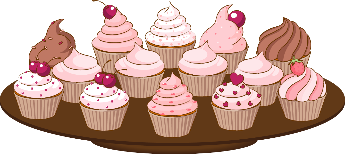 Clip Art Of A Cupcake With Sprinkles Cake.