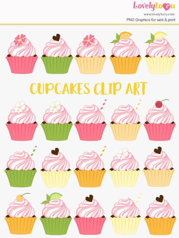 Cupcake clipart, citrus baking, kitchen baker, lemon lime, cherry frosting,  chocolate topper, cupcakes clip art, pink frosted sugar (LC31).